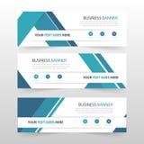 Blauw abstract driehoeks collectief bedrijfsbannermalplaatje, de horizontale reeks van het het malplaatje vlakke ontwerp reclame  royalty-vrije illustratie