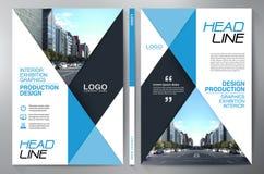 Blauw abstract lay-outmalplaatje met vierkanten Het Ontwerp van de vlieger Pamflettena4 Malplaatje Dekkingsboe-geroep Royalty-vrije Stock Afbeeldingen