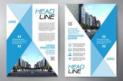 Blauw abstract lay-outmalplaatje met vierkanten Het Ontwerp van de vlieger Pamflettena4 Malplaatje Dekkingsboe-geroep Royalty-vrije Stock Foto's