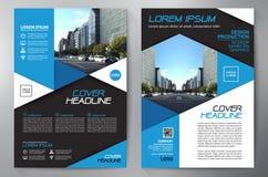 Blauw abstract lay-outmalplaatje met vierkanten Het Ontwerp van de vlieger Pamflettena4 Malplaatje Dekkingsboe-geroep Stock Afbeeldingen
