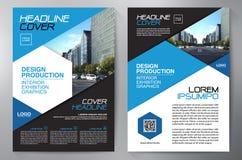 Blauw abstract lay-outmalplaatje met vierkanten Het Ontwerp van de vlieger Pamflettena4 Malplaatje Dekkingsboe-geroep Stock Afbeelding