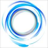 Blauw abstract ontwerpelement met borstelslagen. Stock Afbeelding