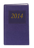 Blauw agenda of dagboek 2014 - twee duizend veertien, geïsoleerd Stock Foto's
