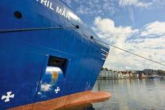 Blauw algemeen vrachtschip Stock Afbeeldingen