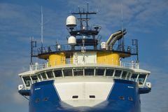 Blauw algemeen vrachtschip Stock Foto
