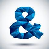 Blauw ampersand geometrisch pictogram, 3d moderne stijl Stock Afbeelding