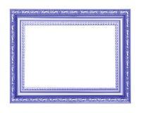 Blauw antiek die kader op zwarte achtergrond wordt geïsoleerd Stock Afbeelding