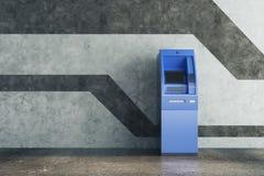 Blauw ATM in concreet binnenland Royalty-vrije Stock Afbeeldingen