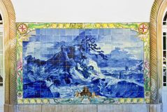 Blauw azulejopaneel, Portugal Royalty-vrije Stock Foto's