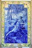 Blauw azulejopaneel, Portugal Stock Afbeeldingen