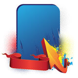 Blauw banner, pijl en lint Royalty-vrije Stock Foto's