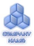 Blauw bedrijfsglas 3D embleem Stock Foto