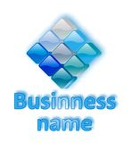 Blauw bedrijfsglasembleem Stock Foto