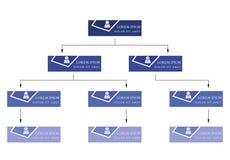 Blauw bedrijfsstructuurconcept, de collectieve regeling van de organisatiegrafiek met mensenpictogrammen Royalty-vrije Stock Foto's