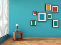 Blauw binnenland met kleurrijke schilderijen en lamp vector illustratie
