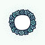 Blauw bloem leuk kader Mooie huwelijksuitnodiging Eenvoudige krabbelkaart Stock Foto