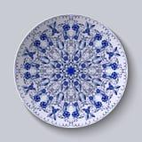 Blauw bloemen cirkelpatroon Decoratieve ceramische plaat royalty-vrije illustratie