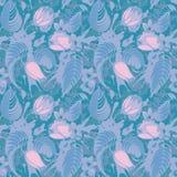 Blauw bloemen naadloos patroon Royalty-vrije Stock Afbeeldingen