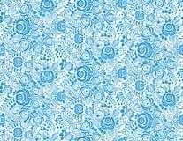 Blauw bloemen textiel vector naadloos patroon binnen royalty-vrije illustratie