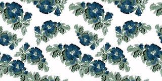Blauw bloemen uitstekend patroon op witte achtergrond Royalty-vrije Stock Afbeeldingen