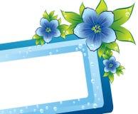 Blauw bloemenframe met dew-drop Royalty-vrije Stock Fotografie