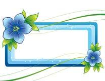 Blauw bloemenframe met dew-drop Stock Fotografie