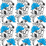 Blauw bloemenornament Stock Foto