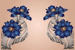 Blauw bloemframe Royalty-vrije Stock Afbeelding