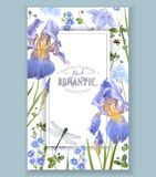Blauw bloemkader Stock Afbeeldingen