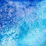 Blauw bloemontwerp op waterverfachtergrond Royalty-vrije Stock Fotografie