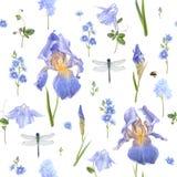 Blauw bloempatroon Stock Foto