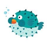 Blauw Blowfish-beeldverhaalkarakter Stock Fotografie