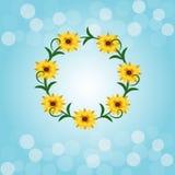 Blauw bokeh licht als achtergrond met bloem Stock Foto