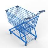 Blauw boodschappenwagentje Royalty-vrije Stock Foto