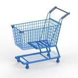 Blauw boodschappenwagentje Stock Afbeeldingen