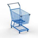 Blauw boodschappenwagentje Stock Afbeelding