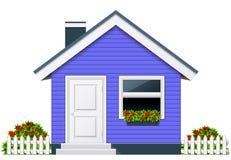 Blauw buitenhuis - landelijk plattelandshuisje Stock Fotografie