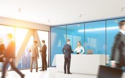 Blauw bureau met mensen Royalty-vrije Stock Foto's