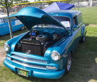 1952 Blauw Chevy Delivery Sedan Front View Royalty-vrije Stock Foto