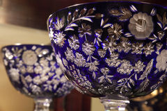 Blauw Crystal Bowl Royalty-vrije Stock Fotografie