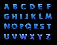 Blauw 3D Alfabet Stock Afbeelding