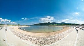 Blauw de baaipanorama van de zomer Stock Afbeeldingen