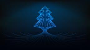 Blauw de boomontwerp van Kerstmis glanzend lijnen als abstracte illustratie Stock Fotografie