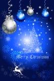 Blauw de kaartontwerp van de kleurengroet met Kerstmisboom baulbe - vectoreps10 Royalty-vrije Stock Foto