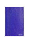Blauw de notaboek van de leer 2017 agenda op wit Royalty-vrije Stock Foto's