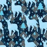 Blauw de sneeuwvlok naadloos patroon van de hertenwaterverf stock illustratie