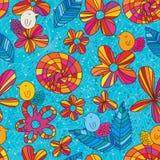 Blauw de stijl naadloos patroon van de bloemvogel Stock Afbeelding