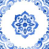 Blauw de stijl naadloos patroon van Delft Nederlandse motieven Stock Afbeelding