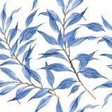 Blauw de textuurpatroon van de bladeren vectorwaterverf stock illustratie