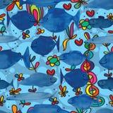 Blauw de waterverf naadloos patroon van het vissenbeeldverhaal Stock Afbeeldingen